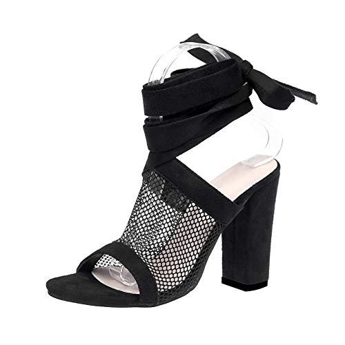 Damen High Heels Sandaletten Sommer Sandalen Absatzschuhe Sexy Mesh Blockabsatz Riemchen Sandalen 10cm Peep Toe Schuhe Partyschuhe Offene Sommerschuhe Y Schwarz 38 EU Sexy Schwarze Peep-toe-heels