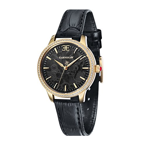 Thomas Earnshaw Women's 'LADY' Mechanical Hand Wind Stainless Steel and Leather Casual Watch, Color Black (Model: ES-8056-01)