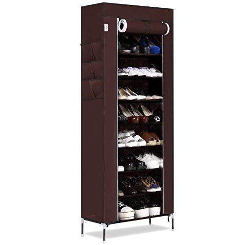 Homdox Schuhregal Schuhständer Regal mit 10 Schichten 9 Gitter 6 Taschen