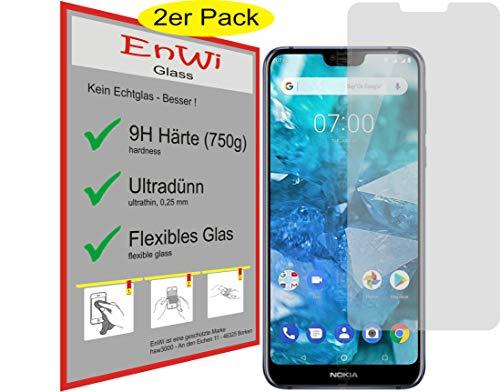 EnWi | 2X Panzerfolie klar Passgenau für Nokia 7.1-9H Panzerglasfolie Bildschirmschutzfolie Schutzfolie Folie Bildschirmschutz
