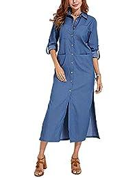 96ced2275dd VONDA Womens Cuffed Sleeve Button Down Slit Hem Denim Shirt Dress with  Pockets