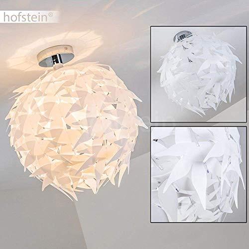 Dokkas Lámpara de techo en blanco - diseño - redondo - lámpara de techo para salón muy llamativa - apta para LED - lámpara de dormitorio - Plafón