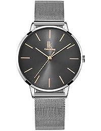 Alienwork Reloj Mujer Relojes Acero Inoxidable Plata Analógicos Cuarzo Gris Impermeable Ultra-Delgada