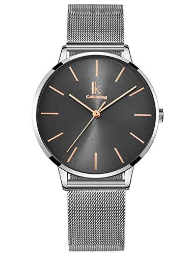 Alienwork Damen-Armbanduhr Quarz Silber mit Metall Mesh Armband Edelstahl grau Ultra-flach dünn