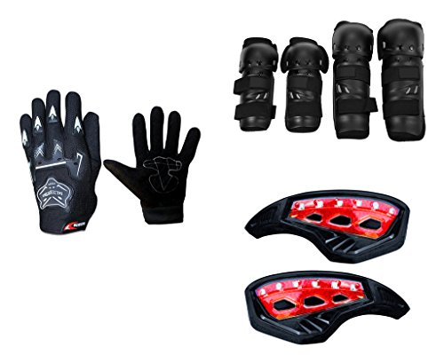 Auto Pearl Premium Quality Bike Accessories Combo Of Knighthood Hand Grip Glove Black 1 Pair. & Fox Motorcycle Riding Knee and Elbow Guard (Black, Set of 4). & Monster 7/8