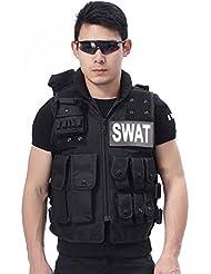 Lalawow Nylon 600D chaleco táctico de Airsoft Modular SWAT Chaleco Múltiples bolsillos bolsas Gear (Negro, Large size for 60cm)