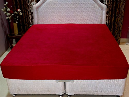 Trance Home Linen Waterproof & Dustproof Mattress Protector Queen Size (78 x 60 Maroon)