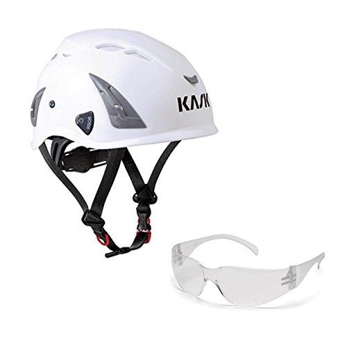 KASK Schutzhelm, Bergsteigerhelm, Industriekletterhelm Plasma AQ - Arbeitsschutz-Helm + Schutzbrille klar - EN 397, Farbe:weiß