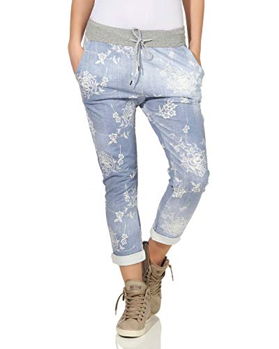 ZARMEXX Damen Sweatpants Baggy Boyfriend Sommerhose Sport All-Over Print One Size Muster 8 One Size (36-40)