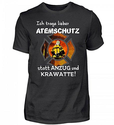 Shirtee Hochwertiges Herren Organic Shirt - Feuerwehr Shirt Hoodie - Ich Trage Lieber Atemschutz Statt Anzug und Krawatte! - Feuerwehrmann Feuerwehrfrau 112
