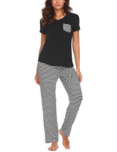 Unibelle donna pigiama due pezzi pigiami estivi donna collo a u maniche corte a striscia con pantaloni nero xl