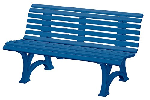 Preisvergleich Produktbild Sitzbank / Gartenbank 3er Design: Helgoland,  Länge 150cm,  blau (hochwertiger Kunststoff,  Parkbank Made in Germany)