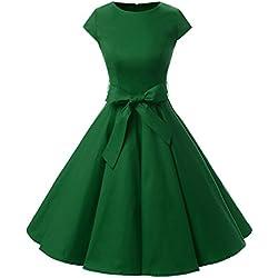 Vestidos Coctel Corto Vintage 50s 60s Manga Corta Rockabilly Elegante Mujer Army Green S