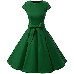 Dressystar Damen Vintage 50er Cap Sleeves Dot Einfarbig Rockabilly Swing Kleider M Armeegrün