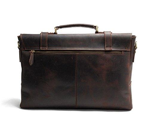 YANGYANJING Mens Vintage La Borsa a tracolla 17 pollici Laptop Bag borsa pelle vintage borsa a tracolla Vintage Cartella Kaffee