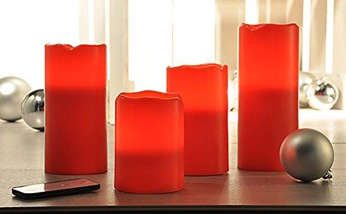 4piezas Juego de de velas sin llama de cera LED Leuchten Rojo con mando a distancia