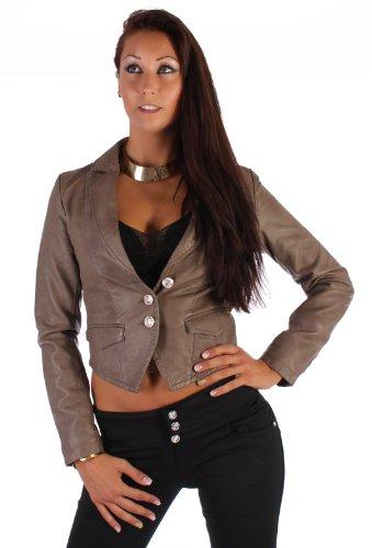 Damen Jacke Bolero Leder-Optik Blazer Langarm in 6 Farben M - 38 (Blazer Leder Damen)