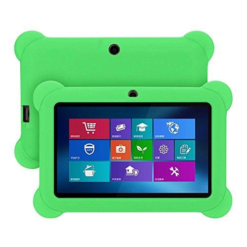 7in Tablet-gel-fall (Voberry Hülle Case, 7-Zoll-weiche Anti-Rutsch-stoßfest Silikon-Gel-Gummi-Slim-Fit-Schutz zurück Fall Deckung für Android Tablet Q88 (Grün))