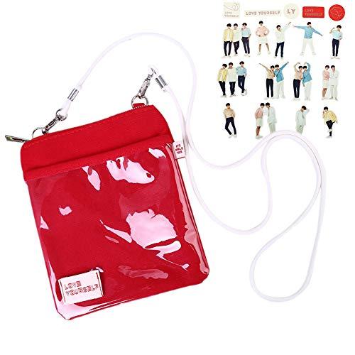 GOTH Perhk KPOP BTS Bangtan Boys Love Yourself World Tour Tasche Offiziell Gleiche Art Mini Paket DIY Aufkleber Umhängetasche Umhängetaschen Rot(Style 01) -