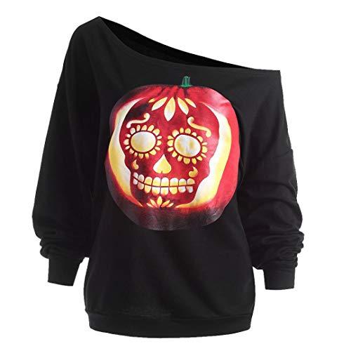YunYoud Frauen Halloween Kürbis Teufel Sweatshirt Pullover Schiefhals-Shirt schwarz weiß gepunktet royalblau damen blusen festlich kurzarm langes hemd damenblusen