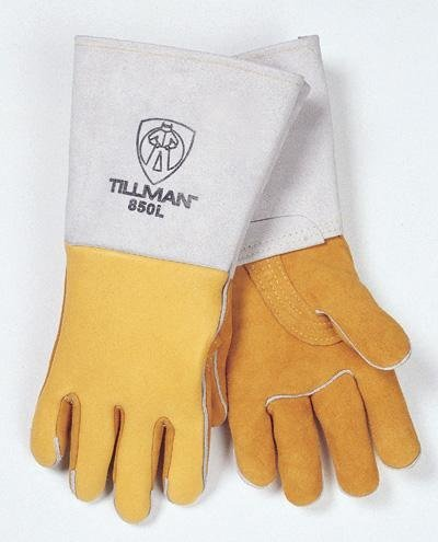 Gold 14 Top Grain Elk Cotton/Foam Lined Welders Gloves With Straight Thumb, Stiff Cowhide Cuff, Welted Fingers, Para-aramid synthetic fiber? Stitching And Pull Tab (Carded) by John Tillman and