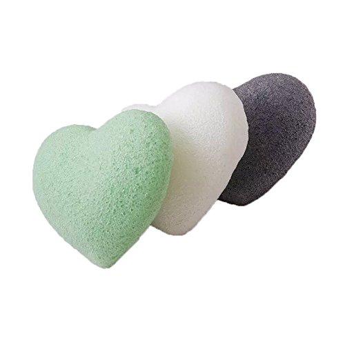 selftek Lot de 3 Naturel Thé Vert et Gris Anthracite profond des pores et Exfoliant Nettoyant Visage Beauty Éponges