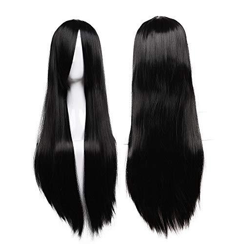 Parrucca nera lunga da donna cosplay halloween con frangia capelli lisci finti 80cm wig black parrucche per costume carnevale party - nero scuro