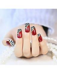 YUNAI Faux Ongles - 24 PCS Longue couverture complète de faux ongles Oblique style Ellipse Français Vin Rouge Leopard Faux Ongles