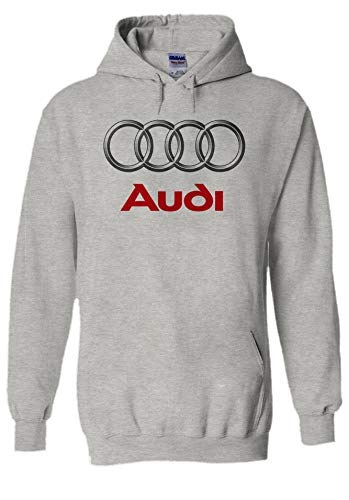Audi Logo S Line R8 German Car Cool Novelty Grey Men Women Unisex Hooded Sweatshirt Hoodie-XL -