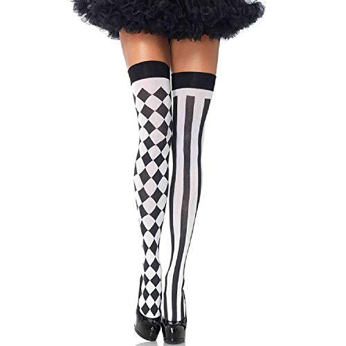 Gute Damen Kostüm - LEG AVENUE 6120 - Harlequin Thigh Highs, Einheitsgröße (Schwarz-Weiß)