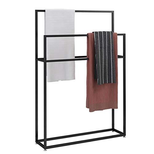 Towel-Rails Freistehender Handtuchhalter aus Metall für Handtuchhalter, Wäscheständer, Küchentoilettenhalter, Schwarz,75×20×110cm(L×W×H) - Freistehender Wäscheständer