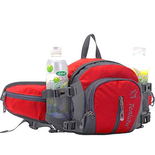 Xinwcang Unisex Multifunktionale Gürteltasche 16 Zoll Nylon Reise Hüfttasche Wasserdicht Bauchtasche mit Flaschenhalter für Ausflug Jogging Wandern Klettern Rot 25 * 10 * 18.5cm (Getränkedose Hat)