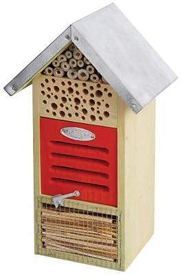 Insektenhotel, Insektenhaus, für verschiedene Insekten, mit Metalldach, 19 x 14,5 x 32 cm von Esschert Design bei Du und dein Garten