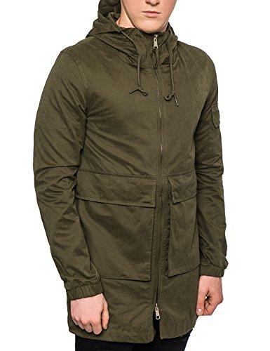 Bellfield-Parka da uomo con cappuccio in cotone leggero giacca militare, colore: kaki/nero Khaki Large