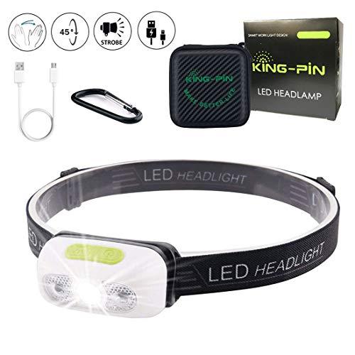 King-Pin stirn1 Kopflampe USB Wiederaufladbare Wasserdicht Leichtgewichts Mini 7 Leuchtmodi Perfekt fürs Laufen Jogging Campen Radfahren (LED Stirnlampe Sensor Induktion Weißes Licht), 3 W -