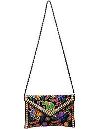 Roshiaaz Women's Stylish Thread Work Ethnic Print Canvas Sling Bag, Multicolor