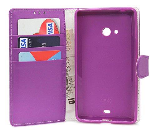 Gadget Giant® Microsoft Lumia 540 Dual SIM PU Leder etui Buch-Stil Handy Hülle mit Displayschutz-Folie & Eingabestift - Purple Farbe