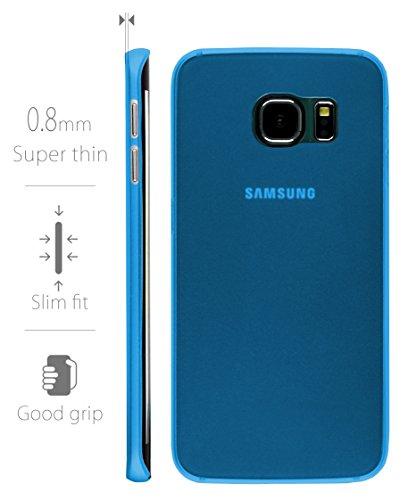MyGadget Samsung Galaxy S6 Edge Hülle ( 5,1 Zoll ) *ultra dünn* aus Plastik PC in Schutzhülle Cover Crystal Case Bumper in Transparent Hartplastik Blau