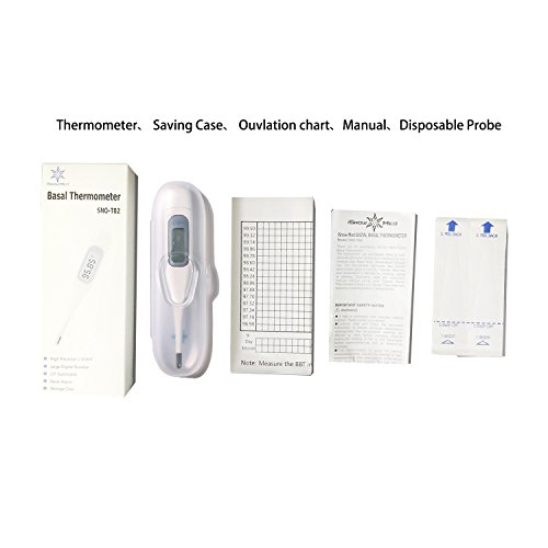 iSnow-Med-1100th-Degree-Basal-Thermometer-Measure-BBT-within-60-s-009F-accuracy-CF-switchable-Storage-Box-and-Ovulation-Chart-available
