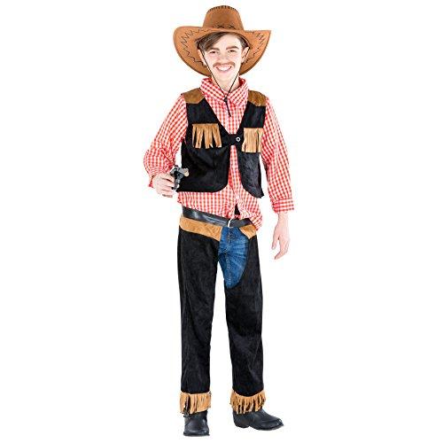 Jungenkostüm Cowboy | Kostüm mit Chap- Hose + karriertem Hemd + Weste in Velourslederoptik (8-10 Jahre | Nr. 300538) ()