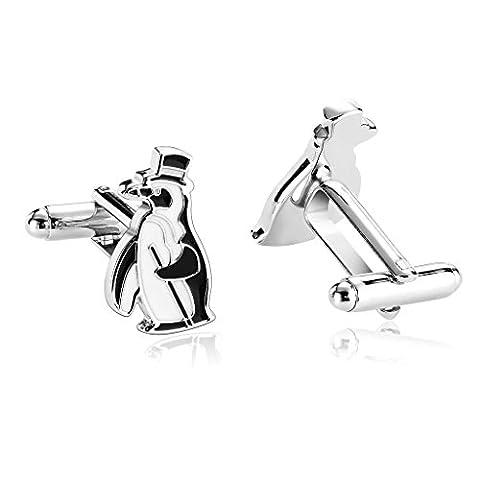 AMDXD Jewelry Stainless Steel Men Cufflinks Black White Animal Penguin