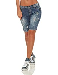 7388c971ffe8 OSAB-Fashion 5234 Damen Jeans Bermuda Shorts kurze Hose Hot Pants  Jeansbermuda Panty Destroyed Applikationen