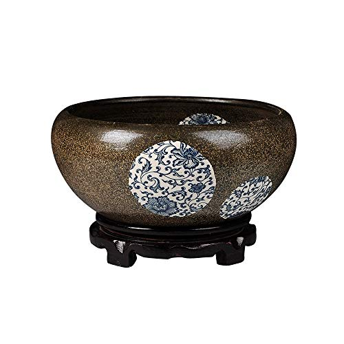 TONGBOSHI Keramik Ornamente, Lotus Water Lily Bowl, Fisch Schüssel, Hydroponic Gold Aquarium, Turtle Tank, kreative dekorative Ornamente, drei Stile (ohne Sockel, mit rotierenden Sockel, mit hohem Soc -