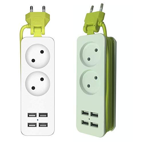 2-fach Steckdosenleiste mit 4 USB-Anschlüssen 1200W 250v 1,5m Kabel, Mehrfachsteckdosen macht Streifen Tragbaren Steckdosenleiste für Handys, mit USB-Ladegerät für Smartphones Tablets - Hoch Gestreifte Kabel