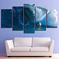ZTTPCP 100x55cm Modern Home Wall Art Poster Living Room Decor Painting 5 Pieces Sharks Surf The Waves Canvas HD Printed Pictures