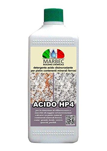 MARBEC - ACIDO HP4 1LT | Detergente disincrostante acido specifico per materiali contenenti minerali ferrosi, come il granito, la quarzite, il porfido