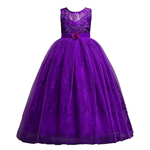Xmiral tutu vestito abito gonna senza maniche farfalla festa cosplay abito da sposa vestito della principessa tulle abito principessa costume bambine altezza: 125-130cm viola