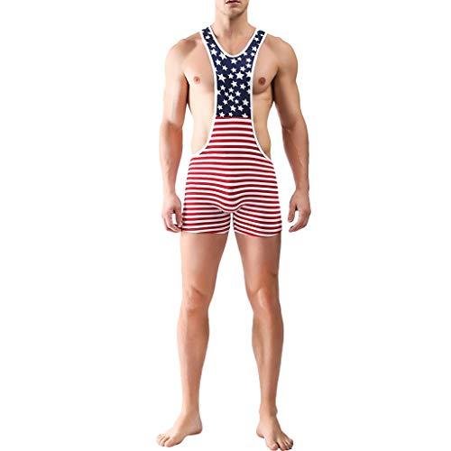 HHyyq Herren American Flag Wrestling Singlet Unterwäsche Bodysuit Dessous Outfit Hosen American Flag Bedruckte Hosen hohe Taille Wrestling Jumpsuit Jumpsuit(rot,S)