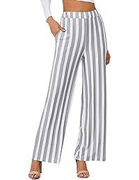 Mujer Pantalones Baggy Fashion Flecos Pantalones De Tiempo Libre Elegantes  Cintura Alta Anchas Cómodo Pantalones Palazzo 6d9717038e18
