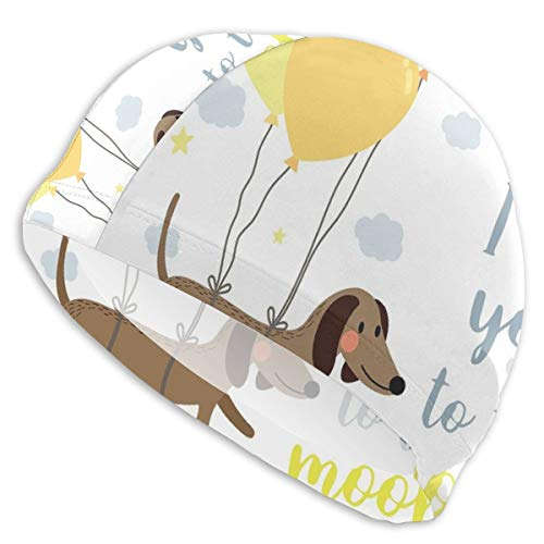 GUUi Swimming Cap Elastic Swimming Hat Diving Caps,Dog with Balloons and Concept Hearts Sun Clouds Puppy Best Friends,for Men Women Youths (Ear Cap Dog)